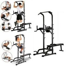 Chin Up Bench Bar Home Fitness Power Tower Dip Station Sit/Pull/Press