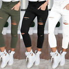 Womens Ripped Skinny Denim Jeans Cut High Waisted Jegging Trousers Pants Legging