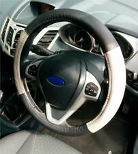 Steering Wheel Cover Genuine Black-Grey Leather Fitted Glove For Renault