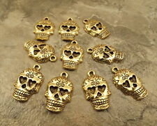 10 Gold Tone Pewter Decorative Skull Charms- 1923
