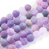 Agate 8mm Beads Natural Weathered Frosted Purple 1 Strand Approx 46 Pieces