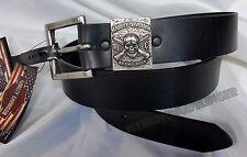 Harley-Davidson Leather Belt No Free Ride Skull w/ Crossbones* Mens Size 38