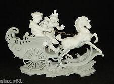 + Volkstedt - Rudolstadt  Porzellanfabrik Figuren Kutsche und 2 Kinder mit Puppe