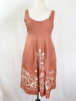 Anthropologie Yoana Baraschi Dress 6 Silk Embroidered Sleeveless Pockets