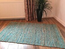 ❤️ Jute & Leather Woven Rag Rug in TURQUOISE 90cm x 150cm Braided Flat Weave