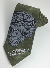 NWOT Ed Hardy Tiger Tattoo Men's Neck Tie Classic Olive Green Gray Black Silk