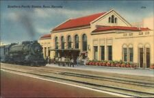Reno NV SP RR Train Station Depot Linen Postcard