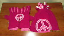 Youth Girls 10-14 The Children's Place Winter Cold Weather Peace Sign Hat Gloves