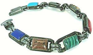 Vintage 950 SILVER Bracelet Mexico TURQUOISE LAPIS MALACHITE ONYX JASPER 38.8g