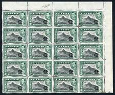 Ceylon SG387e 3c Black and Deep Blue-green Block of 20 U/M