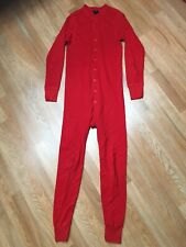 Vtg 80s Reed St James Thermal Union Suit Double Layer Red Buttoned Usa Made S
