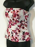 White House Black Market Floral Bustier Corset Top Women's Sz 0 Removable Straps