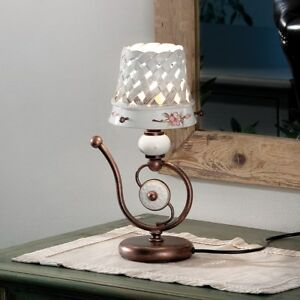Bedside Lamp Lumetto Wrought Iron And Ceramics White Brown