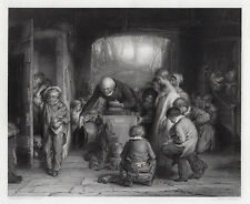 """Outstanding WILLIAM MULREADY 1800s Engraving """"Late for School"""" Framed SIGNED COA"""
