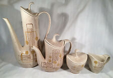 Vintage Tan Color 1950's Crazy Rhythm Red Wing Pitcher Pottery Set of 4 w/ Tops!