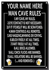PERSONALIZED MAN CAVE RULES METAL SIGN,GIFT,POSTER,GAMES ROOM,BEER,DEN,NOVELTY