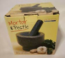 "Heavy Gray Granite Mortar and Pestle by Kitchen Collection Mint 5.5"" x 4"""