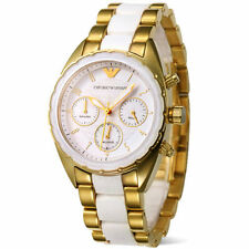 Armani AR5944 ladies/women white golden colour chronograph watch