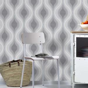 Luna Grey Geometric Curve Wallpaper Paste the Wall Textured Vinyl 10098-10
