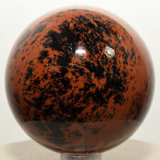 56mm Mahogany Obsidian Sphere Black Red Natural Crystal Polished Stone - Mexico