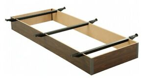 """Twin XL Pedestal Bed Base 6"""" Walnut Laminate Wood Frame and Center Support"""