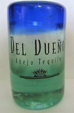 "DEL DUENO, ANEJO TEQUILA HAND BLOWN GREEN & BLUE TONED 3"" TALL SHOT GLASS"