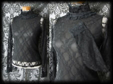 Goth Black Sheer Lace CRUEL GOVERNESS High Neck Blouse Top 6 8 Victorian Vintage