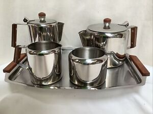 Vintage 18/8 Stainless steel Tea Set Tray 50s 60s Teaset Brand New In Box