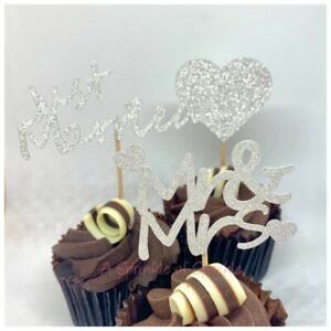12 GLITTER MR & MRS JUST MARRIED WEDDING CUPCAKE TOPPERS GOLD SILVER 3 DESIGNS