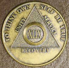 Alcoholics Anonymous 49 XLIX FORTY NINE Year △ BACK Medallion Token BRONZE