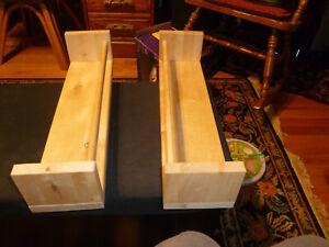 "New -Natural Wood  Wall Mounted Display Shelves 15-3/4"" long.  Rustic Shaker Sty"