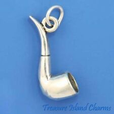 Tobacco Smoking Pipe 3D .925 Solid Sterling Silver Charm Pendant MADE IN USA