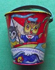 c1930  Tinplate Seaside Sand Pail Bucket by Chad Valley Owl & Pussycat A