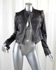 JUICY COUTURE Womens Black Leather Long-Sleeve Moto Biker Zip Jacket S NEW