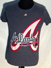 Atlanta Braves MLB Baseball Team Big Logo Majestic Small S Solid Gray T-shirt