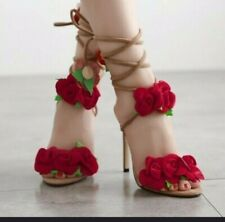 Shoes for women special floral design heel open toe summer fashion