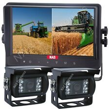 """9"""" Quad Two Camera Kit With Quad Monitor Two CCD Waterproof Backup Cameras"""