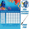 Reusable Potty Training finding Dory Reward Chart, free Stickers & pen, MAGNETIC