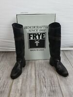 FRYE Jet Black Leather Tall Riding Boots 8.5 brush brown distress Style 7687