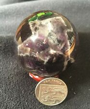 UK NATURAL DREAM AMETHYST CHEVRON  CRYSTAL SPHERE BALL + STAND 50MM