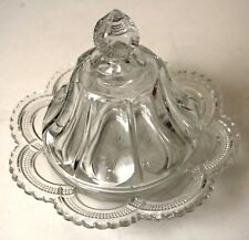 "EAPG CLEAR GALLOWAY VIRGINIA MIRROR 8"" BUTTER DISH LID BASE US Glass Jefferson"