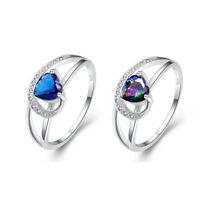 Exquisite Heart Cut Sapphire & Rainbow Topaz Gemstone Silver Ring Size 6 7 8 9