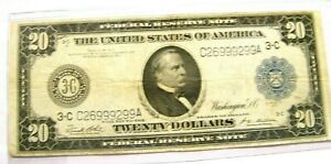 1914 $20 Federal Reserve Note - Blue seal  - Rare early date Philadelphia