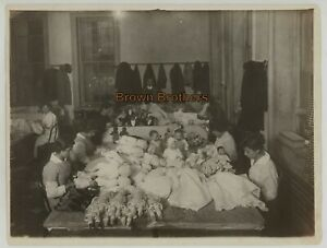 Vintage 1910s Antique Doll Factory Dressing the Dolls & Girl w/ Dolls PHOTOS (2)