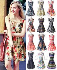 New Brand Summer Women Casual Print Sleeveless Dress Chiffon Beach Dresses S-XXL