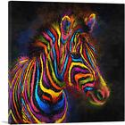 ARTCANVAS Zebra Colorful Stripes Africa Canvas Art Print