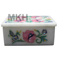 Trinket Jewelry Box Marble Inlay Stone Boxes Pietra Dura Scagliola Art Vintage