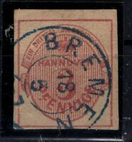 G128669 / GERMAN OLD STATES / HANOVER / MI # 6 USED CV 500 $ CERTIFICATE