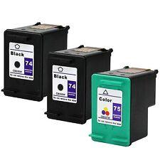 3PKs pk HP 74 75 Ink Cartridges for Photosmart C4580 C4348 C4384 C4424 C4480