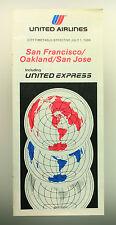 United Airlines Della Compagnia Aerea Timetable (tabella Orari) San Francisco